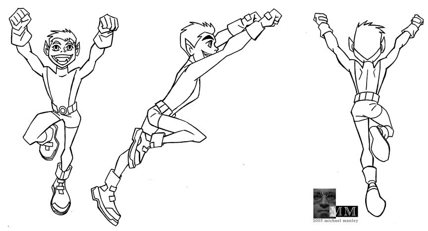 Teen titan beastboy colouring pages